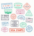 visa stamps or passport signs of immigration vector image vector image