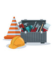 white background with toolbox and cone with helmet vector image