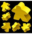 yellow wooden meeple set vector image vector image