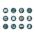 law firm flat round icons set vector image