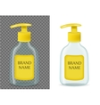 Liquid soap realistic packaging with transparent vector image
