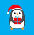 penguin wearing santa claus red hat gift box cute vector image