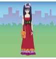 Stylish hippie girl with urban background vector image