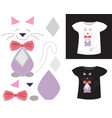 applique cat with bow vector image vector image
