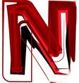 Artistic font letter N vector image vector image