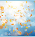 autumn template with colorful leaves on gold bokeh vector image vector image