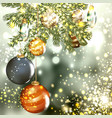 balls with fur branch on a blurred background vector image vector image