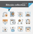 Bitcoin outline and flat icon set isolated