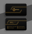 black and golden business card template vector image vector image