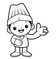 black and white funny cook mascot give guidance vector image vector image