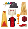 bowling icons set playing tools equipment vector image vector image