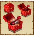 bright set red boxes and chests with key vector image vector image