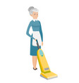chambermaid cleaning floor with a vacuum cleaner vector image vector image