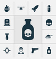 combat icons set with poison bomb grave and vector image vector image