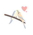 cute lovely birds sitting on a branch vector image