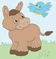 Donkey and Bird Friends vector image vector image