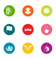 eastward icons set flat style vector image