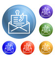 email phishing icons set vector image