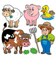 farm cartoons collection vector image vector image