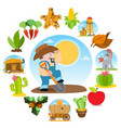 farmer digging the ground agricultural business vector image