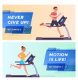 fitness website landing page flat set vector image vector image
