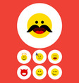 flat icon face set of winking smile pouting and vector image vector image