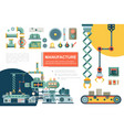 flat industrial production line composition vector image vector image