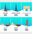 france italy time to travel set of travel vector image vector image