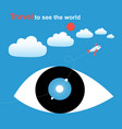 graphics big eyes against sky with clouds vector image vector image