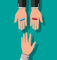 hands with blue and red capsule pills vector image vector image