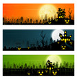 happy halloween banner set with pumpkins and castl vector image vector image
