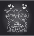 happy valentines day chalkboard with boy and girl vector image
