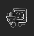 industrial power outlet chalk white icon on black vector image vector image