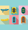 inflatable boat icon set flat style vector image vector image