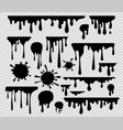 ink blots and drips set isolated on transparent vector image vector image