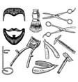 ink hand drawn style barbershop set vector image
