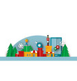 isolated christmas papercut toy city landscape vector image
