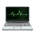 laptop computer with green heart rate on screen vector image