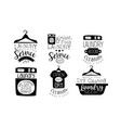 laundry service wash and fold labels set dry vector image