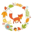Little fox character in floral wreath vector image vector image