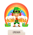 lucky leprechaun with a beer in front of a rainbow vector image