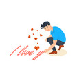 man writes declaration of love on the pavemen vector image vector image