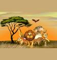 many wild animals in savanna field vector image vector image