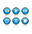 media buttons blue round glass buttons with vector image