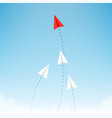 minimalist stile red paper airplane show direction vector image vector image