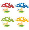 mushroom cartoon food fresh set vector image
