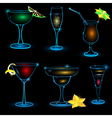 Neon Cocktail icon set vector image vector image