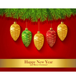 New Year greeting card with Christmas ornaments vector image vector image