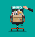 office chair sign vacancy box with office goods vector image vector image