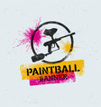 paintball marker gun splat banner on grunge vector image